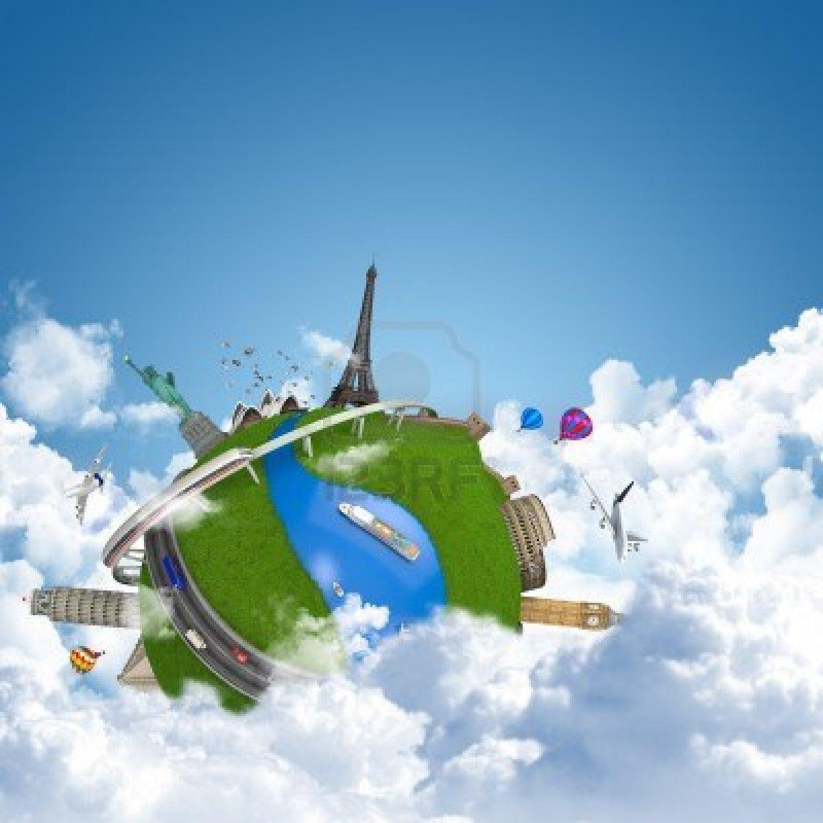 14181997-viajes-por-el-mundo-globo-concepto-con-puntos-de-referencia-por-encima-de-las-nubes-como-vacaciones-